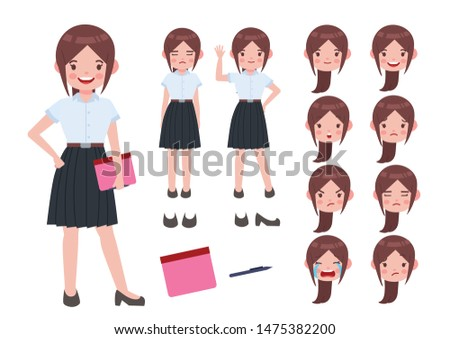 Asian student in university uniform. Thai student. Student character on isolated background. Vector. Student character vector.