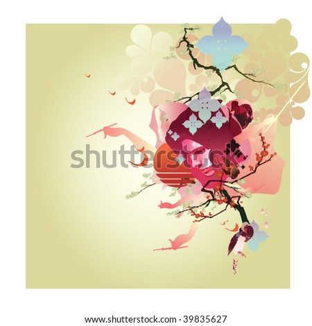Asian-style illustration featuring cherry blossoms and a buddha with a rising sun.
