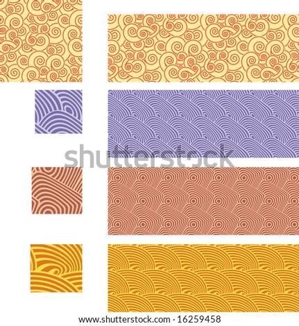 Asian traditional, seamless patterns - set 02. Select all the appropriate art in each separated layer and drop it into your swatches palette to create the Adobe Illustrator pattern.