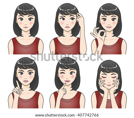 asian woman character set