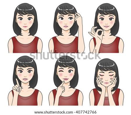 asian woman character set