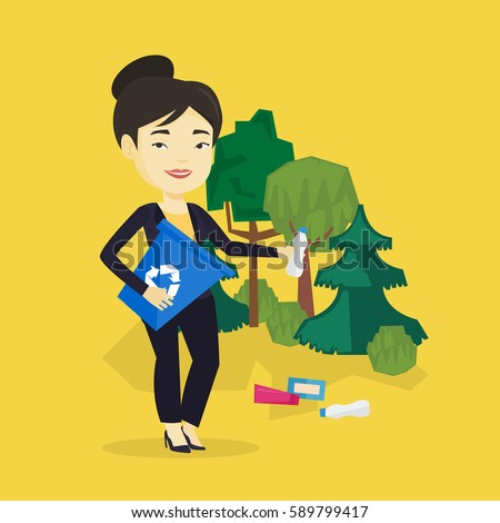 Asian woman collecting garbage in recycle bin. Young woman with recycling bin in hand picking up used plastic bottles in forest. Waste recycling concept. Vector flat design illustration. Square layout - stock vector