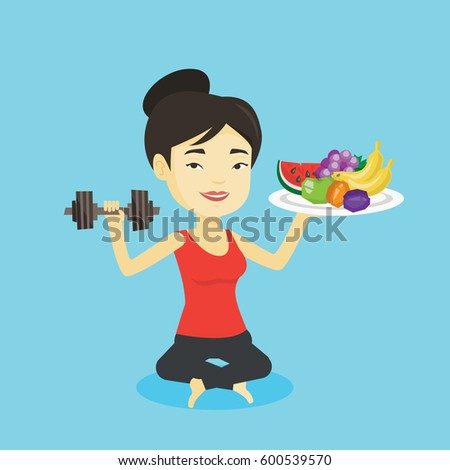 Asian woman holding fruits and dumbbell. Sportswoman with healthy fruits and dumbbell. Woman choosing healthy lifestyle. Healthy lifestyle concept. Vector flat design illustration. Square layout.