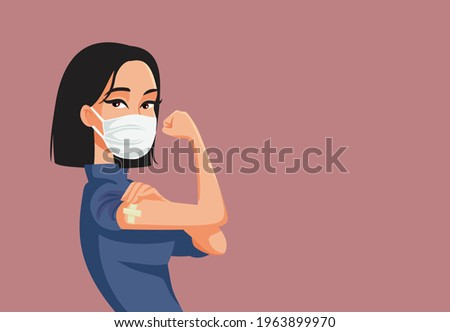 Asian Woman Showing Vaccinated Arm Vector Illustration. Vaccine distribution for general population concept illustration