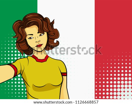 Asian woman taking selfie photo in front of national flag Italy in pop art style illustration. Element of sport fan illustration for mobile and web apps on national flag background
