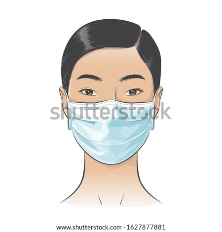 Asian woman wearing disposable medical surgical face mask to protect against high air toxic pollution city. stop the spread of viruses, help prevent hand-to-mouth transmissions. Vector illustration