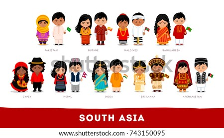 Asians in national clothes. South Asia. Set of cartoon characters in traditional costume. Cute people. Vector flat illustrations.