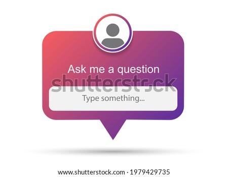 Ask me a question vector banner. User interface window. Vector illustration Stok fotoğraf ©