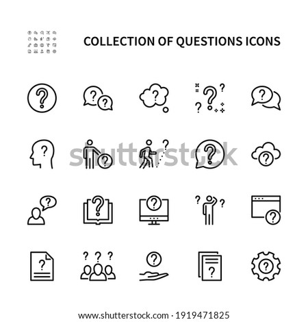 Ask questions vector linear icons set. Contains icons such as doubt, insecure person, question mark, and more. Collection of questions for websites and mobile. Vector symbols set.