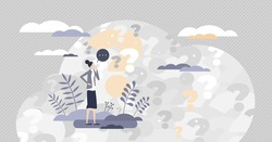 Asking questions with doubt, confusion and unknown information tiny person concept. Female with many question marks symbols in thoughtful posture vector illustration. Search answer to various problems