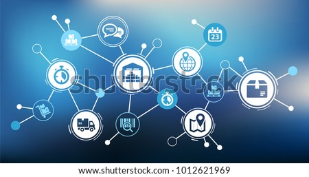 Aspects of modern company logistics processes - vector illustration