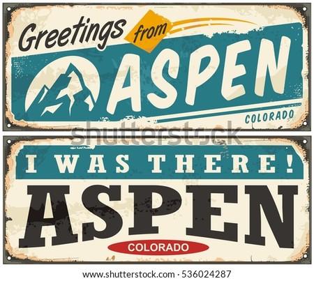 Aspen Colorado retro metal sign set with popular winter vacation destination. Vector illustration. Creative souvenir concept.