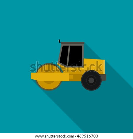 asphalt compactor in flat style