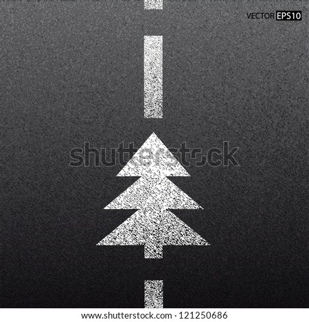 Asphalt dark texture with white line and christmas tree.