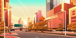 asphalt road with information banner traffic signs city skyline modern skyscrapers cityscape sunset background flat horizontal