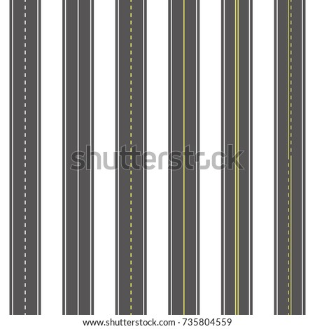 Asphalt roads seamless texture set, traffic surface marking white and yellow lines, top view of vertical striped straight highway, vector illustration