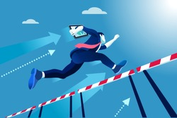 Aspiration concept of high business race. Business competition metaphor background. Vector Design.