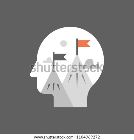 Aspiration concept, work motivation, self growth mindset, career opportunity, potential development, next level challenge, mountain peak flag, task management, way to success, progress in learning