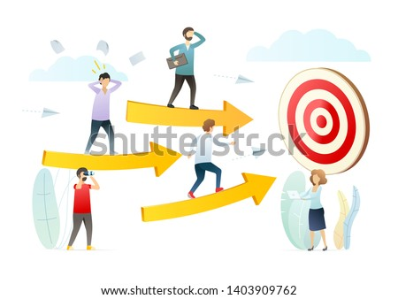 Aspirations, goals achieving flat vector illustration. Purposeful people cartoon character. Career development, personal growth, skill improvement concept. Move to dream, aim, target.