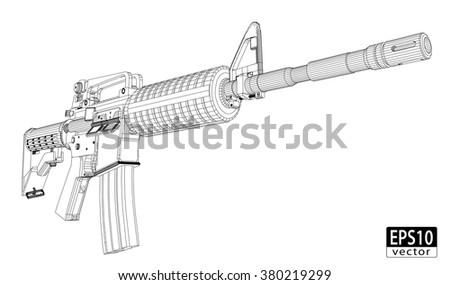 assault gun wireframe  front