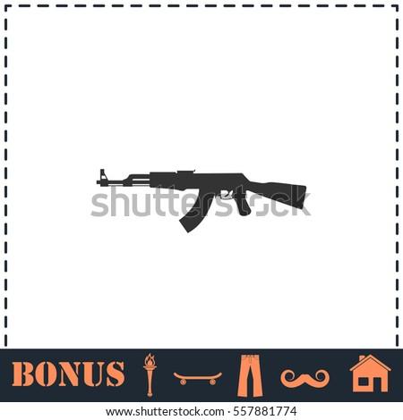 assault rifle icon flat simple
