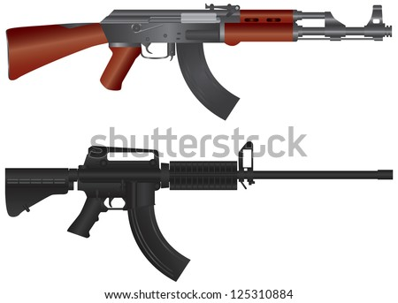 Assault Rifles Semi Automatic Weapons Illustration Isolated on White Background Vector