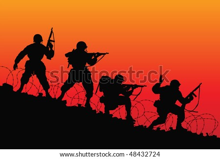 Assault. Vector silhouette of soldiers.