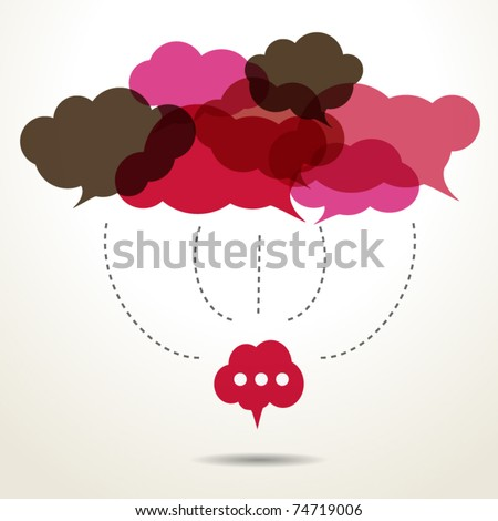 Assembled cloud speech bubbles