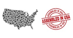 Assembled in USA rubber seal stamp, and United States map collage of airplane elements. Collage United States map designed of airliners. Red stamp with Assembled in USA caption,