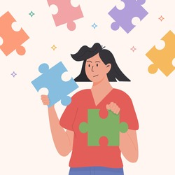 Assembling puzzle, finding right decision idea flat vector. Holding two suitable jigsaw pieces. Connect together. Woman finding herself. Girl feeling incomplete. Mental rehabilitation, psychotherapy.