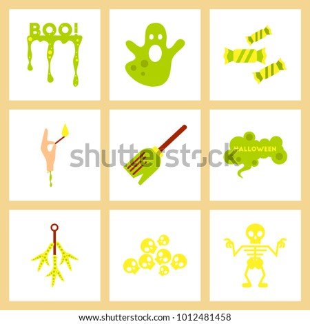 assembly flat icons halloween boo ghost candies Witch's broom skeleton sign chicken feet skulls