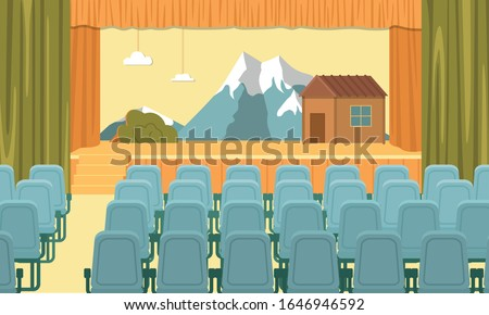 Assembly Hall Interior. Raised Stage Decorated for School Performance, Platform for Show. Little House on Mountain Foot. Seats for Spectators in Rows. Space Used by Pupils and Their Parents Regularly.