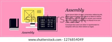 Assembly illustration. Elegant flat style on pink background. Software development, programming, code debugging.