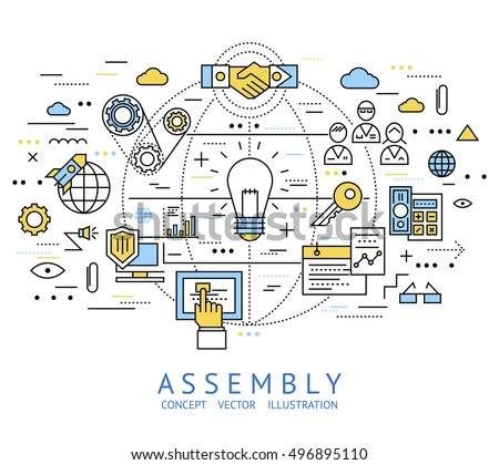 Assembly line art with isolated colored in linear style elements and lines vector illustration