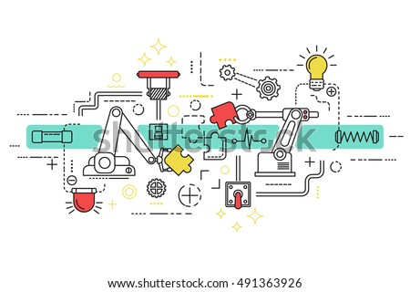 assembly line art with isolated