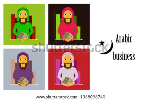 assembly of flat icons on theme Arabic business arabic businessman with gold