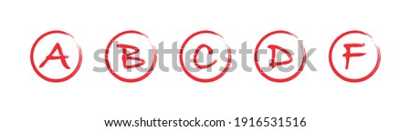 Assessment results. Hand drawn school or college exam results. Class grades with circles red on white background. Vector illustration. Stock photo ©