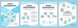 Asset management brochure template. Business finance. Flyer, booklet, leaflet print, cover design with linear icons. Vector layouts for magazines, annual reports, advertising posters