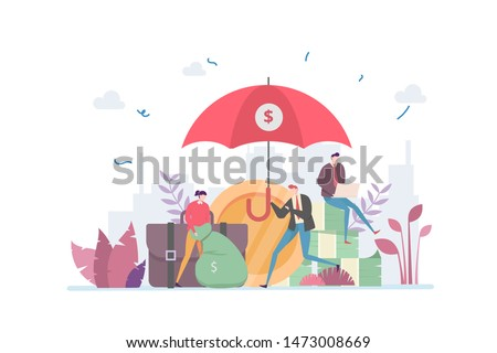 Asset Management Security Vector Illustration Concept Showing a financially literacy businessman aware to secure wealth asset, Suitable for landing page, ui, web, App intro card, editorial, banner