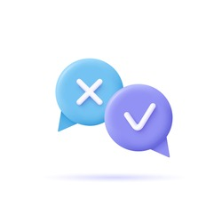 Assignment tasks icon. Speech bubbles with marks. 3d vector illustration.