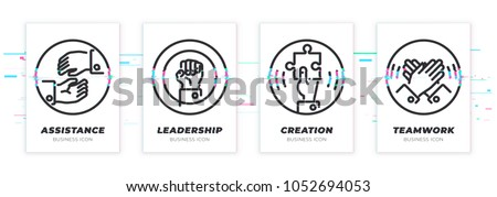 Assistance, leadership, creation, teamwork. Business theme glitched black icons set. Scalable vector objects on transparent background. Modern distorted glitch style.