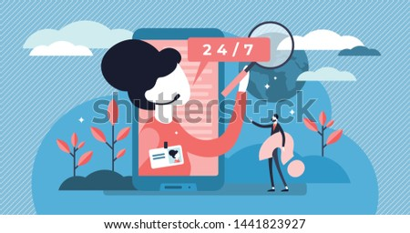 Assistant vector illustration. Flat tiny helpline support persons concept. Professional occupation with headset and answers to client questions. Online communication consultant and secretary employee.
