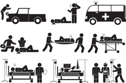 Assisting the injured icon set.