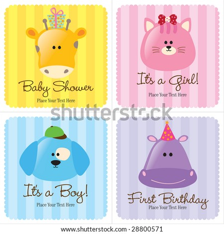 Assorted Baby Cards Set 3 (1- baby shower, 2-birth announcements, 1- first birthday)