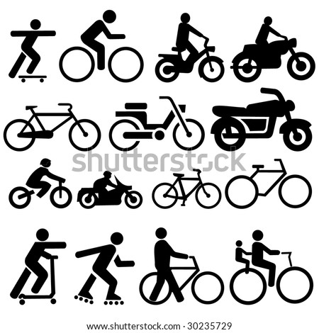 assorted bicycle moped motorcycle and skate board silhouettes