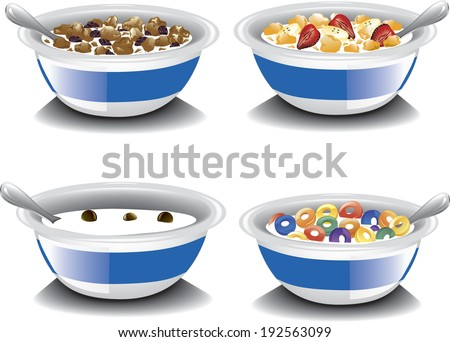 assorted bowls of cereal