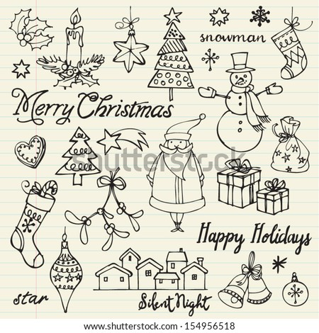 assorted christmas icons doodle
