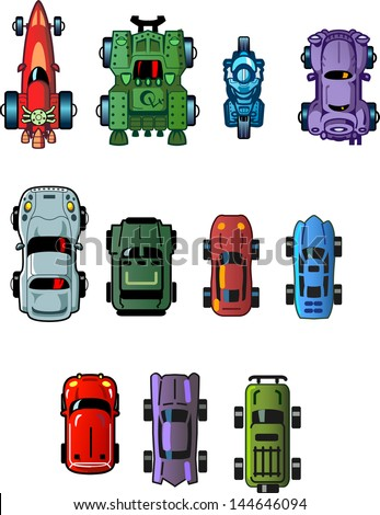 Assorted Cool Small Cartoon Cars and Vehicles for use as Assets in Computer Video Games Top View