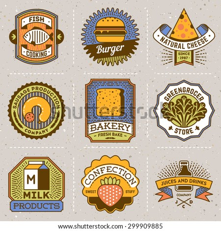 Assorted Food Insignias Color Logotypes Template Set. Line Art Vector Elements.