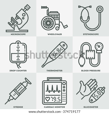 Assorted Medical Devices Icon Set. Line Design Vector Illustrations.
